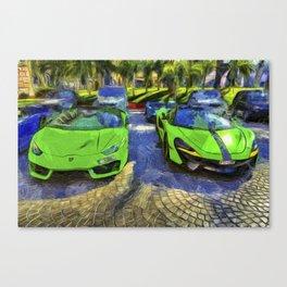Dubai Super Cars Art Canvas Print