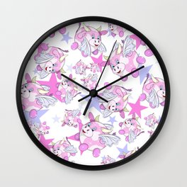 adorable pattern of pink flying bubble cow with wings Wall Clock