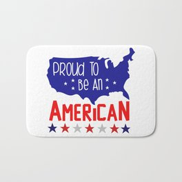 Proud to be an american inscription.Usa map with stars. Bath Mat