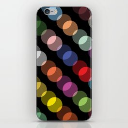 Double-Vision Multicolored Polka Dots over Black Background iPhone Skin