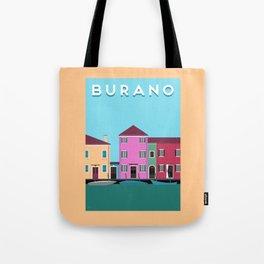 Burano, Italy Travel Poster Block Type Tote Bag