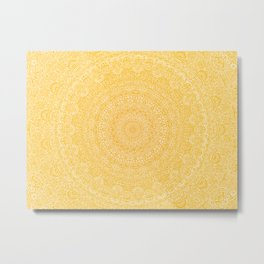 The Most Detailed Intricate Mandala (Mustard Yellow) Maze Zentangle Hand Drawn Popular Trending Metal Print