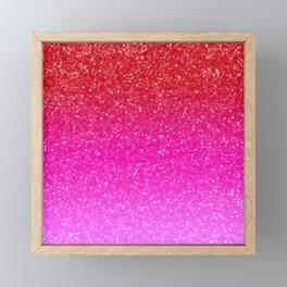 Red/Pink Glitter Gradient Framed Mini Art Print