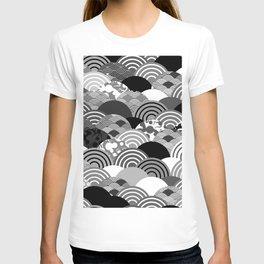 Nature background with japanese sakura flower, Cherry, wave circle Black gray white colors T-shirt