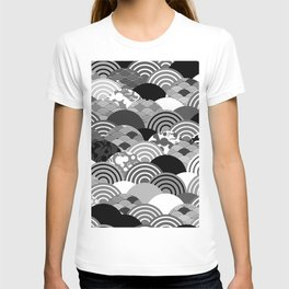 Nature background with japanese sakura flower, Cherry, wave circle Black gray white colors T-shirt