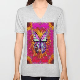Rainbow Colored Butterfly On Red-fuchsia Sunflower Floral  Unisex V-Neck