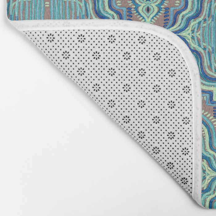 Marker Moroccan in Aqua, Cobalt Blue, Taupe & Teal Bath Mat