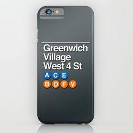 subway greenwich village sign iPhone Case