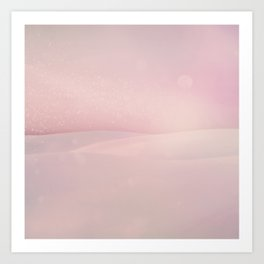 Surreal Pink Desert With Full Moon Art Print