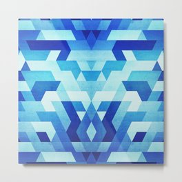 Abstract geometric triangle pattern (futuristic future symmetry) in ice blue Metal Print