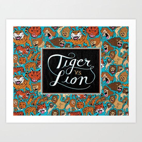 Tiger VS. Lion Art Print