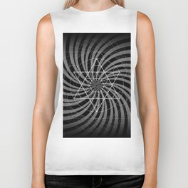 Metatron's Cube Grayscale Spiral of Light Biker Tank