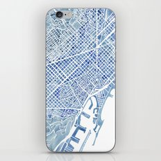 Barcelona Blueprint Watercolor City Map iPhone Skin