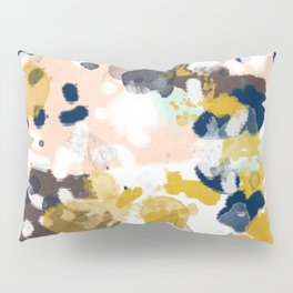 Sloane - Abstract painting in modern fresh colors navy, mint, blush, cream, white, and gold Pillow Sham