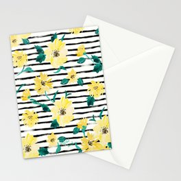 Happy flowers Stripe Stationery Cards