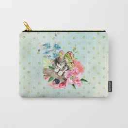 Cute Kitten on Watercolor Flowers Carry-All Pouch
