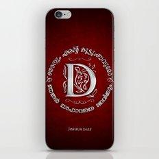 Joshua 24:15 - (Silver on Red) Monogram D iPhone & iPod Skin