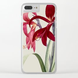 Red Vintag Flowers Clear iPhone Case