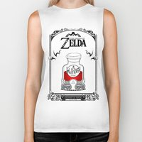 legend of zelda Biker Tanks featuring Zelda legend - Red potion  by Art & Be