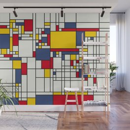 World Map Abstract Mondrian Style Wall Mural