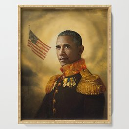 Barack Obama Poster, Classical Painting, Regal art, General, President, Democrat, Political Serving Tray