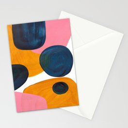 Mid Century Modern Abstract Minimalist Retro Vintage Style Pink Navy Blue Yellow Rollie Pollie Ollie Stationery Cards