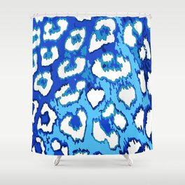 Blue and White Leopard Spots Shower Curtain