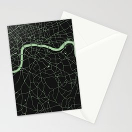 London Black on Green Street Map Stationery Cards