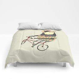 Deer on Bike.  Comforters