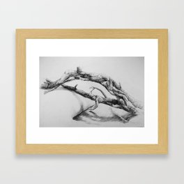 Fallen Tree people figure bridge reaching for water hand touching pencil drawing Framed Art Print