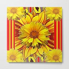 RED & YELLOW  FLOWER DECO MODERN ART Metal Print
