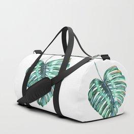 Monstera leaf green tropical watercolor Duffle Bag