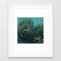 frog Framed Art Prints featuring frog by giancarlo lunardon