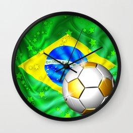 Brazil Flag Gold Green and Soccer Ball Wall Clock