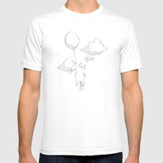 Balloon Cat MEDIUM White Mens Fitted Tee