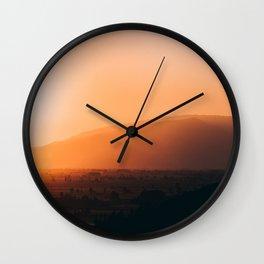 Sepia Orange Sunset Mountain Hills Landscape Photo Wall Clock