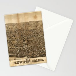 Aerial View of Newton, Massachusetts (1878) Stationery Cards