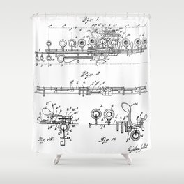 Flute Patent - Musician Art - Black And White Shower Curtain