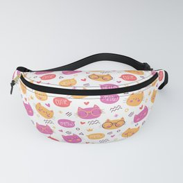 Cute Hand Drawn Cat Pattern Fanny Pack