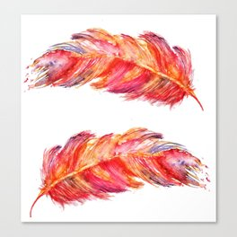 Feathers abstract watercolor Canvas Print