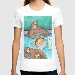 sloths pizza party T-shirt