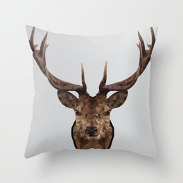 Low Poly Wild Stag Throw Pillow