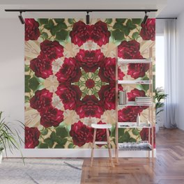Old Red Rose Kaleidoscope 3 Wall Mural