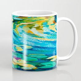Original oil painting of beautiful water lily(Nymphaeaceae) on canvas.Modern Impressionism Coffee Mug