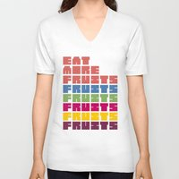 fruits V-neck T-shirts featuring Fruits by Harold's Visuals