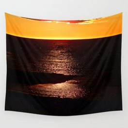 Glowing Sunset on the Sea Wall Tapestry