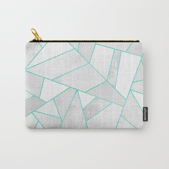 White Stone with Turquoise Lines Carry-All Pouch