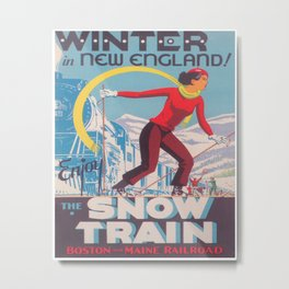 New England Snow Train Vintage Ski Travel Poster Metal Print