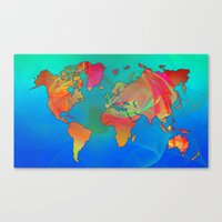 map of the world Canvas Prints featuring World Map by Roger Wedegis