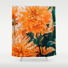 Coral Floral Shower Curtain